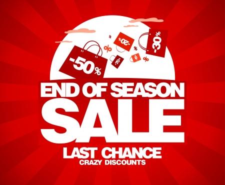 end line: Fin de la temporada de venta plantilla de dise�o con bolsas de la compra