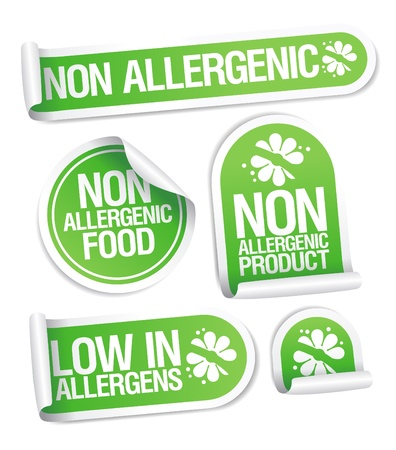 packaging equipment: Non allergenic products stickers set