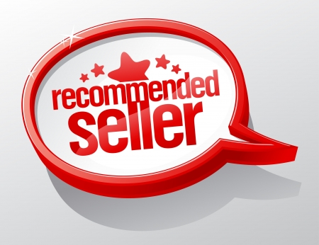 recommended: Recommended seller shiny speech bubble  Illustration