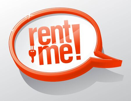 Rent me shiny glass speech bubble  Vector