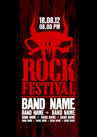 Rock festival design template with cow scull and place for text  Vector