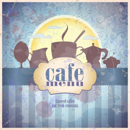 Retro restaurant menu card design template  Eps10   Иллюстрация