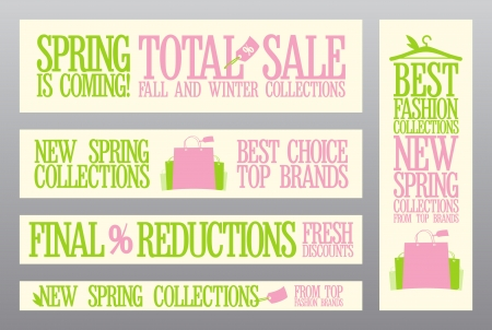 sale banner: Spring fashion banners for sale and new collections  Illustration