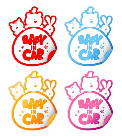 Baby in car stickers with funny animals. Vector