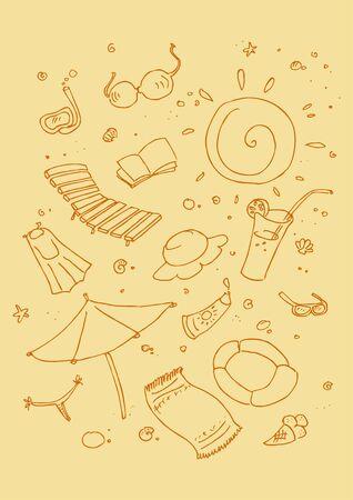 Vector illustraition of cartoon beach symbols, hand drawn design set. Vector