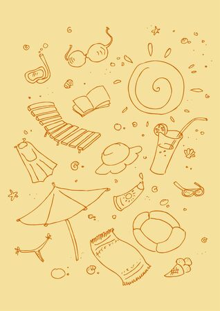 illustraition: Vector illustraition of cartoon beach symbols, hand drawn design set. Illustration
