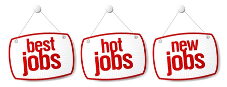 new opportunity: Best jobs signs set. Illustration