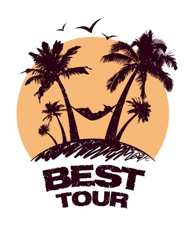 sightseeing: Best tour design template with tropical view.