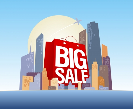 Big sale shopping bag in city, vector poster. Vector