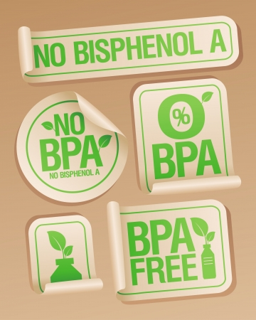 Bisphenol A (BPA) free products stickers set. Stock Vector - 17928796