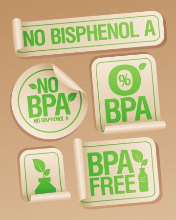 niños reciclando: El bisfenol A (BPA) productos libres pegatinas set.