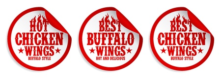 Best hot chicken wings stickers set. Stock Vector - 17928806