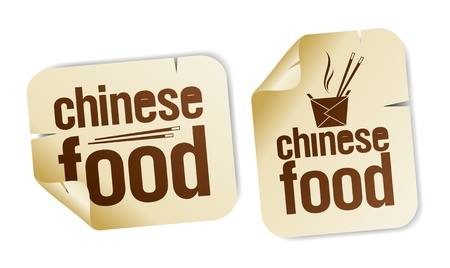 Chinese food stickers set. Vector