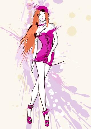 casual dress: Fashion model sketch. Vector illustration.