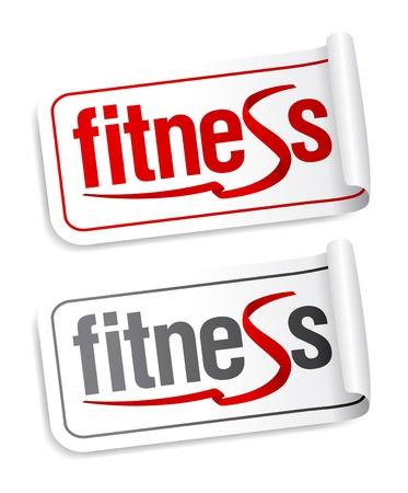 sports club: Fitness stickers set. Illustration