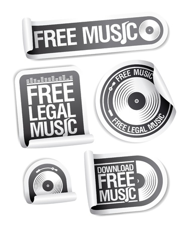 Free legal music stickers pack  Vector