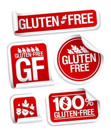 gluten: Gluten free food stickers set  Illustration