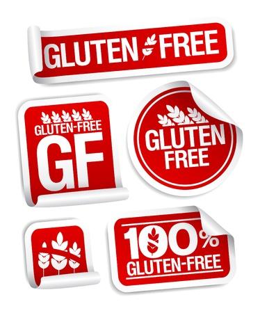gluten: Gluten free food stickers set  Illustration