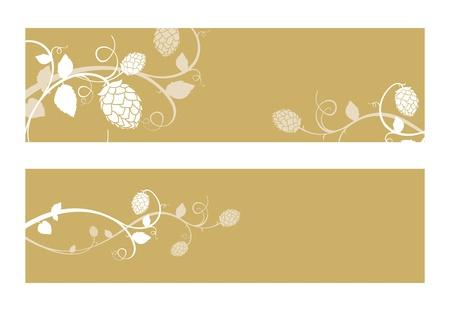 hop plant: Stylized hop flowers composition, gold banner set