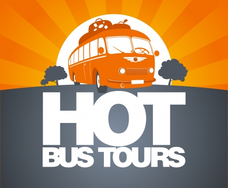 trip travel: Hot bus tours design template with retro bus
