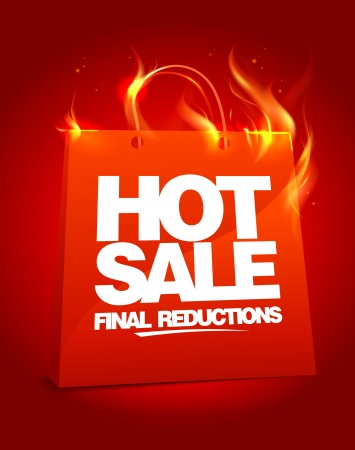 hot sale: Fiery hot sale design with shopping bag   Illustration