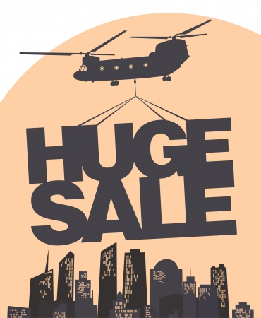 container freight: Huge sale carried by a helicopter above the city  Vector design template  Illustration