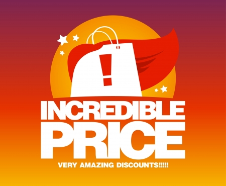 discount banner: Incredible price, sale design template with shopping bag as a superhero  Illustration