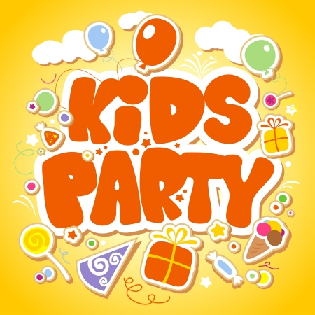 cartoon teenager: Kids Party design template  Illustration