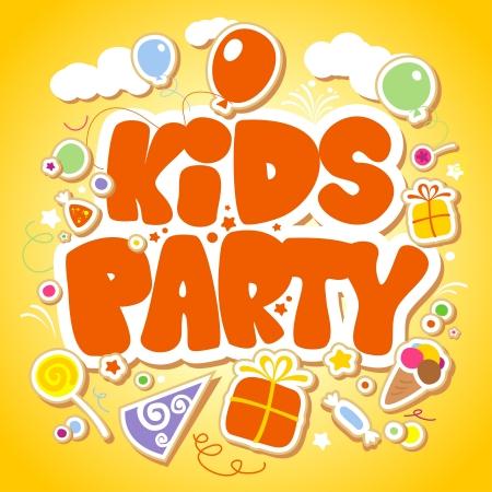 pelota caricatura: Kids Party plantilla de dise�o Vectores