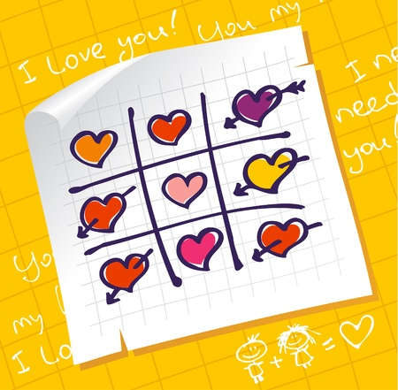 synopsis: Tic Tac Toe Hearts, Valentine background  Illustration
