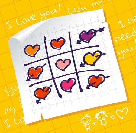 need: Tic Tac Toe Hearts, Valentine background  Illustration