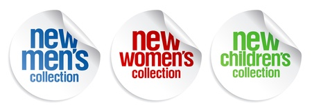 kid's: Men s, women s and kid s collection stickers set Illustration