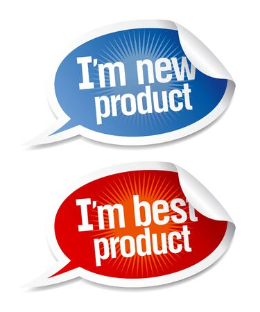 New best product stickers set in form of speech bubbles  Stock Vector - 17932695