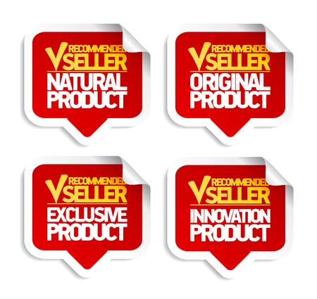 Recommended seller speech bubbles set. Vector