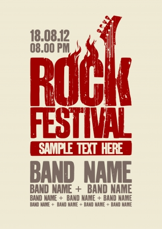 rock band: Rock festival design template with bass guitar and place for text.