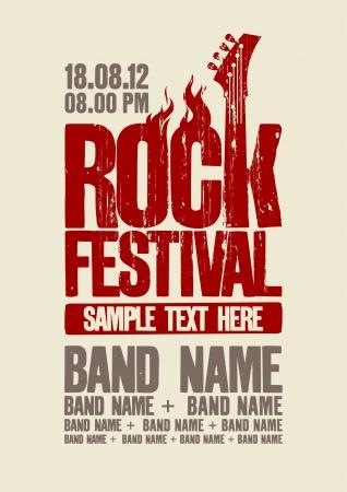 gitara: Rockowy projekt szablon festiwal z gitar? basow? i miejsce na tekst. Ilustracja