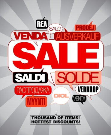 bargain sale: Sale design template written in many languages.