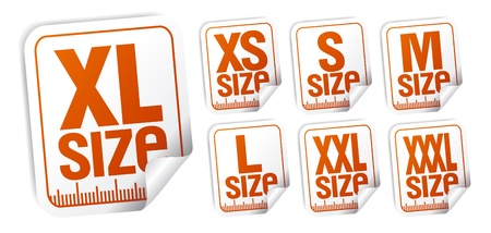 size clothing stickers set Vector