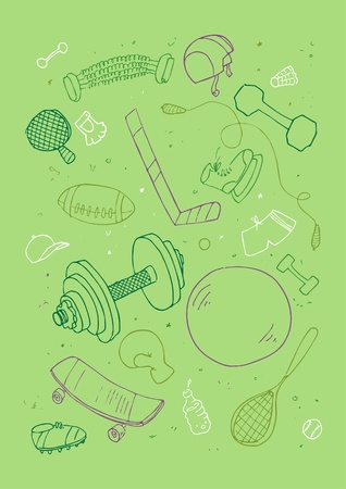 Vector illustraition of sports accessories, hand drawn design set. Vector