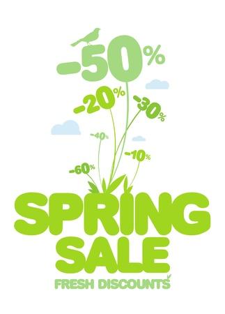 spring out: Venta de primavera dise�o de la plantilla. Descuentos frescas. Vectores
