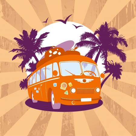Modèle de design de mode avec le bus rétro et vue tropicale.