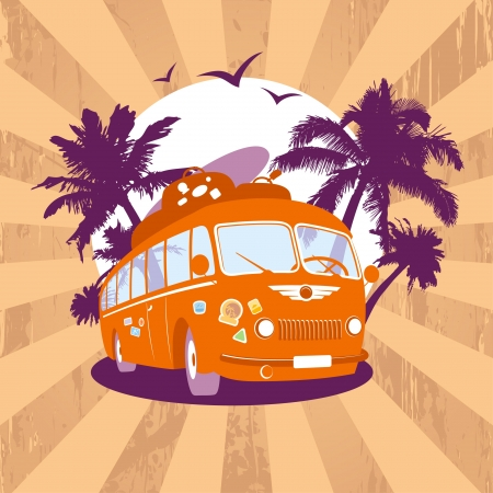 Fashion design template with retro bus and tropical view. Vector