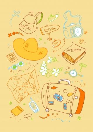 Cartoon beach symbols, hand drawn design template. Vector