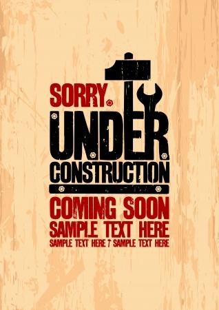 soon: Under construction ontwerpsjabloon. Stock Illustratie
