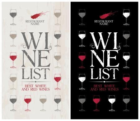 wijn en spijzen: Wijnkaart Menu Card Design template. Stock Illustratie