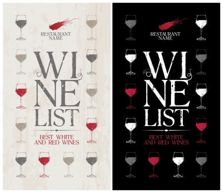 wine glass: Wine List Menu Card Design template. Illustration
