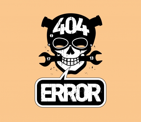 404 error, page not found design template with cartoon skull  Vector