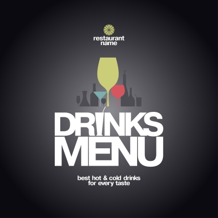 bar menu: Drinks Menu Card Design template  Illustration