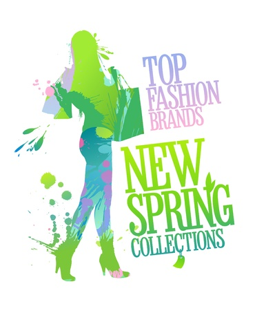 woman shopping bags: New spring collections design template with shopping woman silhouette and splashes  Illustration