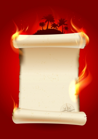 Vintage burning scroll blank on a tropical background   Eps10 Vector  Vector